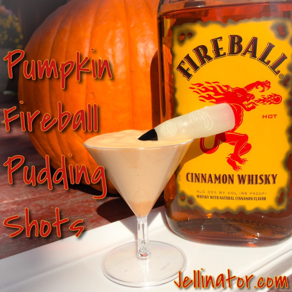 Pumpkin Fireball Pudding Shots - Jellinator.com